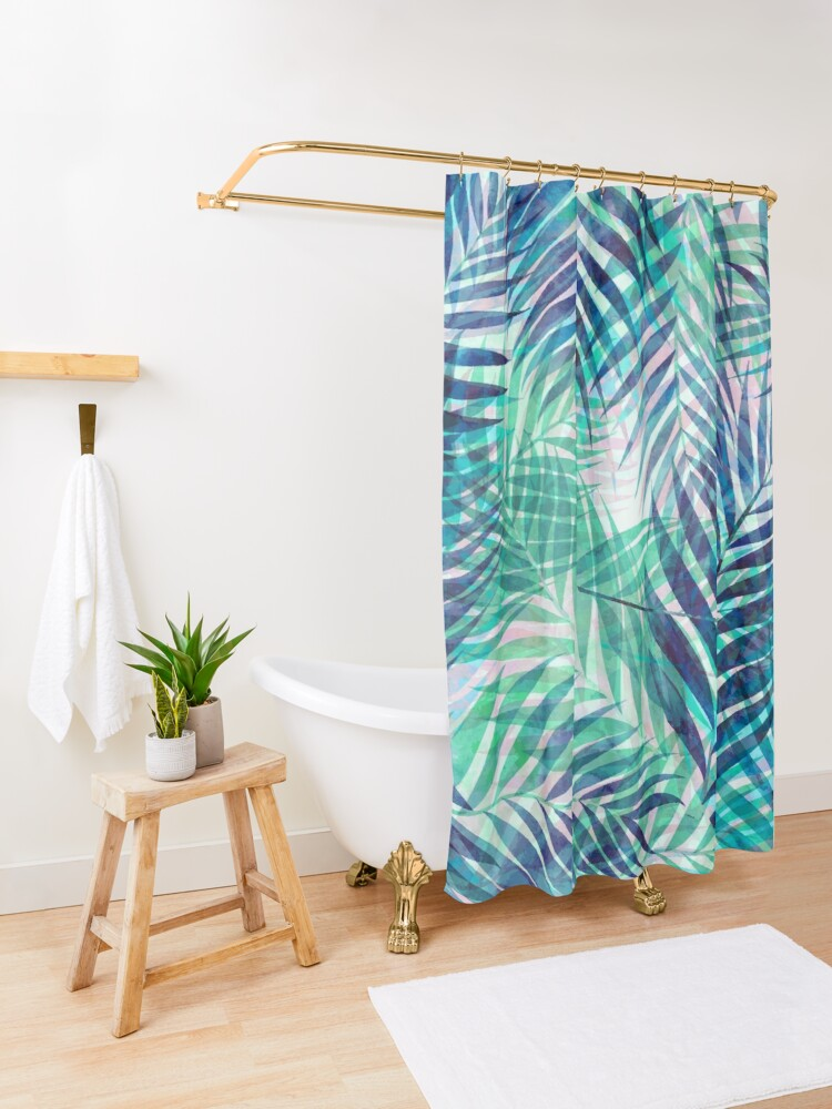 Alternate view of Palm Leaves - Indigo Green Shower Curtain