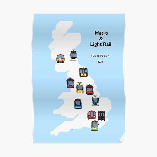 Metro and Light Rail of Britain (Geographic) Poster