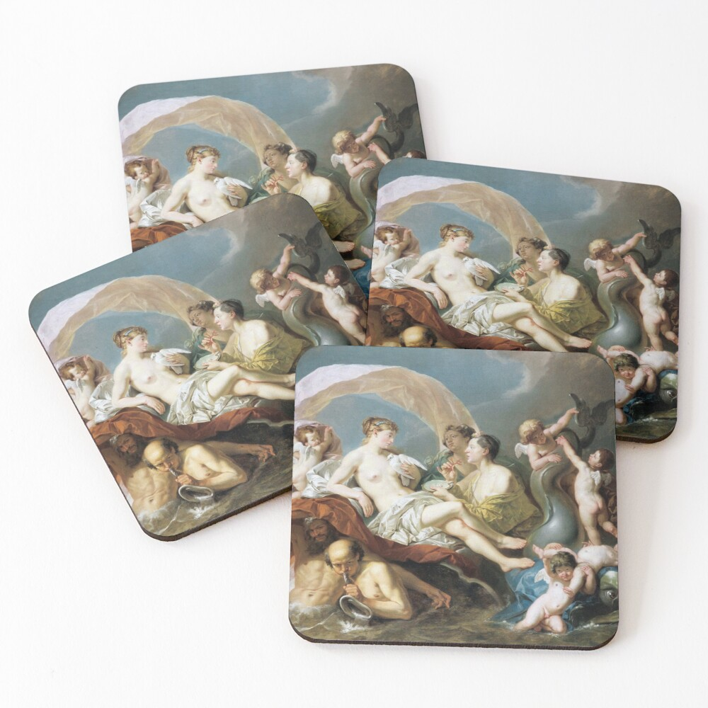 #Art, #illustration, #renaissance, #painting, people, Aphrodite, Venus, cherub, cupid, color image, men, males, women Coasters (Set of 4)
