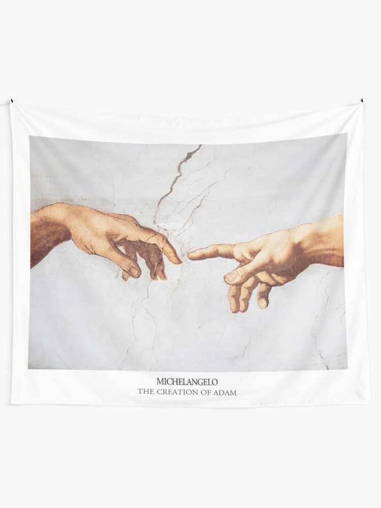 Alternate view of The Creation of Adam Michelangelo Fingers Touching Tapestry