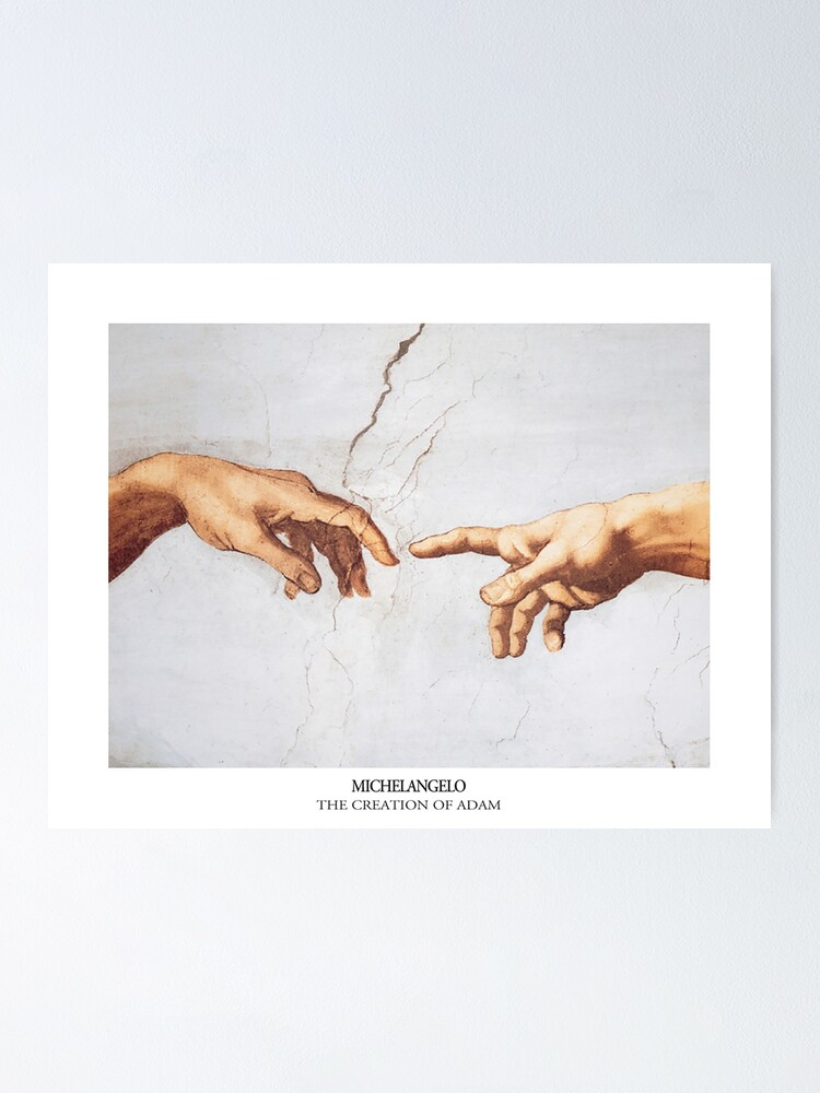 Alternate view of The Creation of Adam Michelangelo Fingers Touching Poster