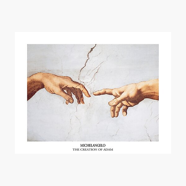 The Creation of Adam Michelangelo Fingers Touching Photographic Print