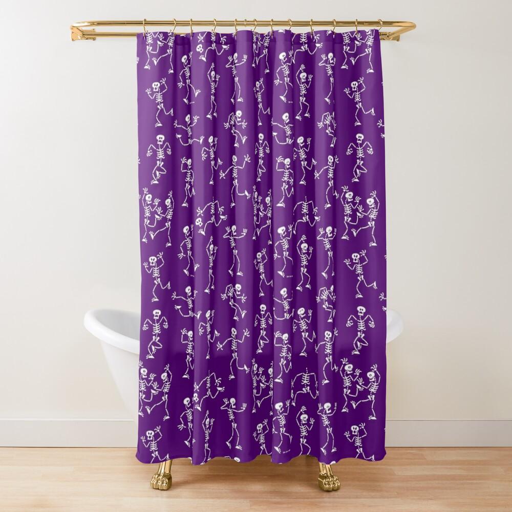 Mischievous skeletons having fun partying in a Halloween pattern design Shower Curtain