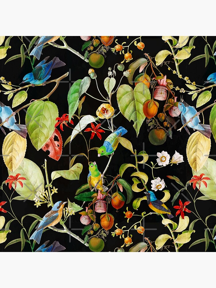 Vintage tropical sing birds and fruits pattern black by UtArt