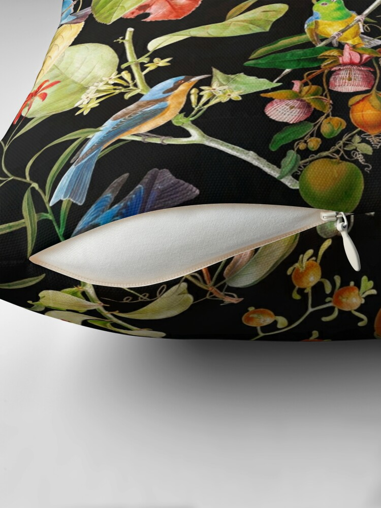 Alternate view of Vintage tropical sing birds and fruits pattern black Throw Pillow
