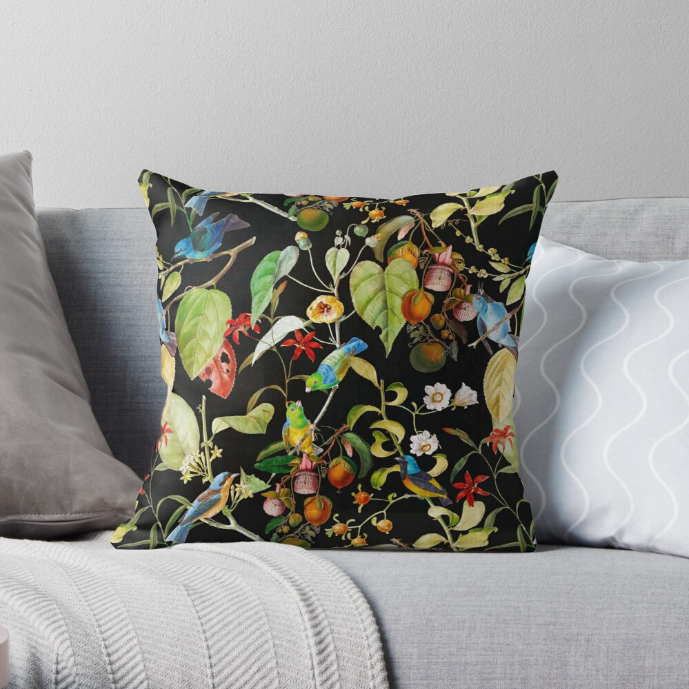 Vintage tropical sing birds and fruits pattern black Throw Pillow