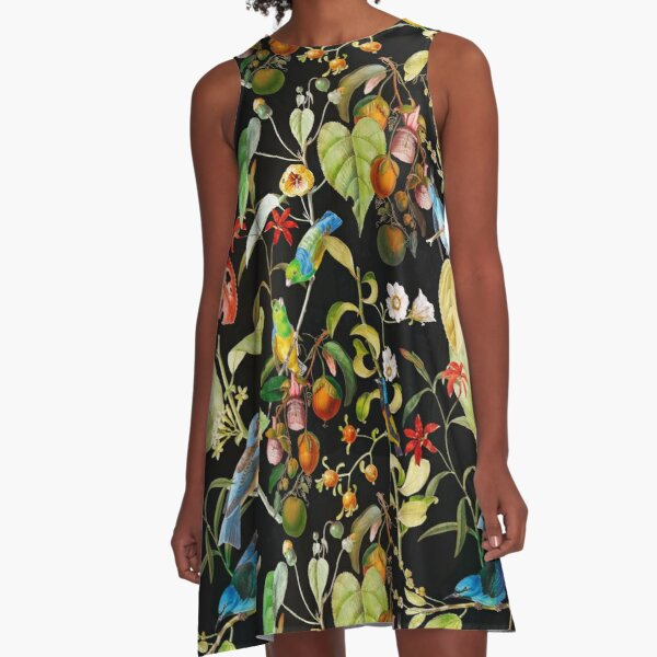 Vintage tropical sing birds and fruits pattern black A-Line Dress