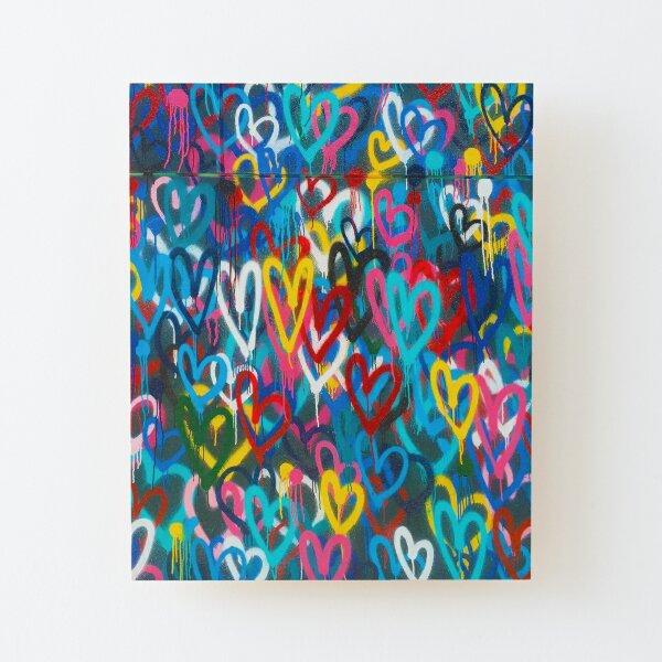 Graffiti Urban colorful graffiti city wall chaotic hearts pattern painting grunge rainbow love Wood Mounted Print