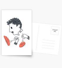 Baile de Chaplin con tenedores y pan Postales