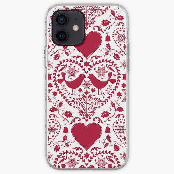 Scandinavian Folk Art With Birds Red White Pattern iPhone Soft Case