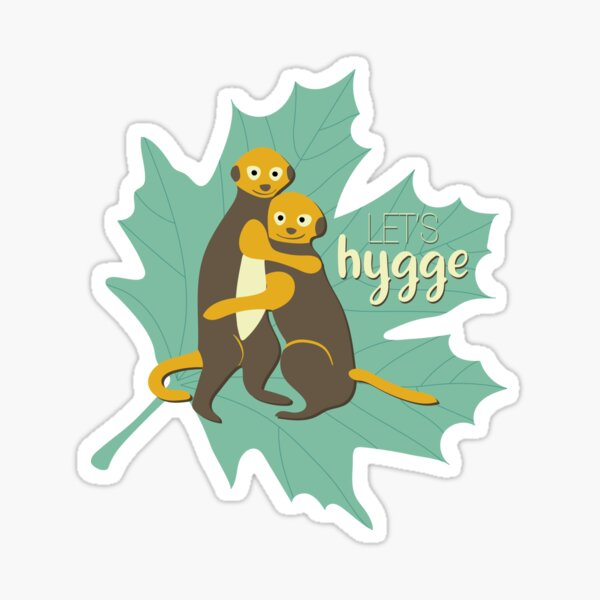 Let's hygge! Meerkat kid friends hugging Sticker