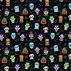 Halloween-Charaktere, die lustige Gesichter in einem coolen Musterdesign machen von Zoo-co