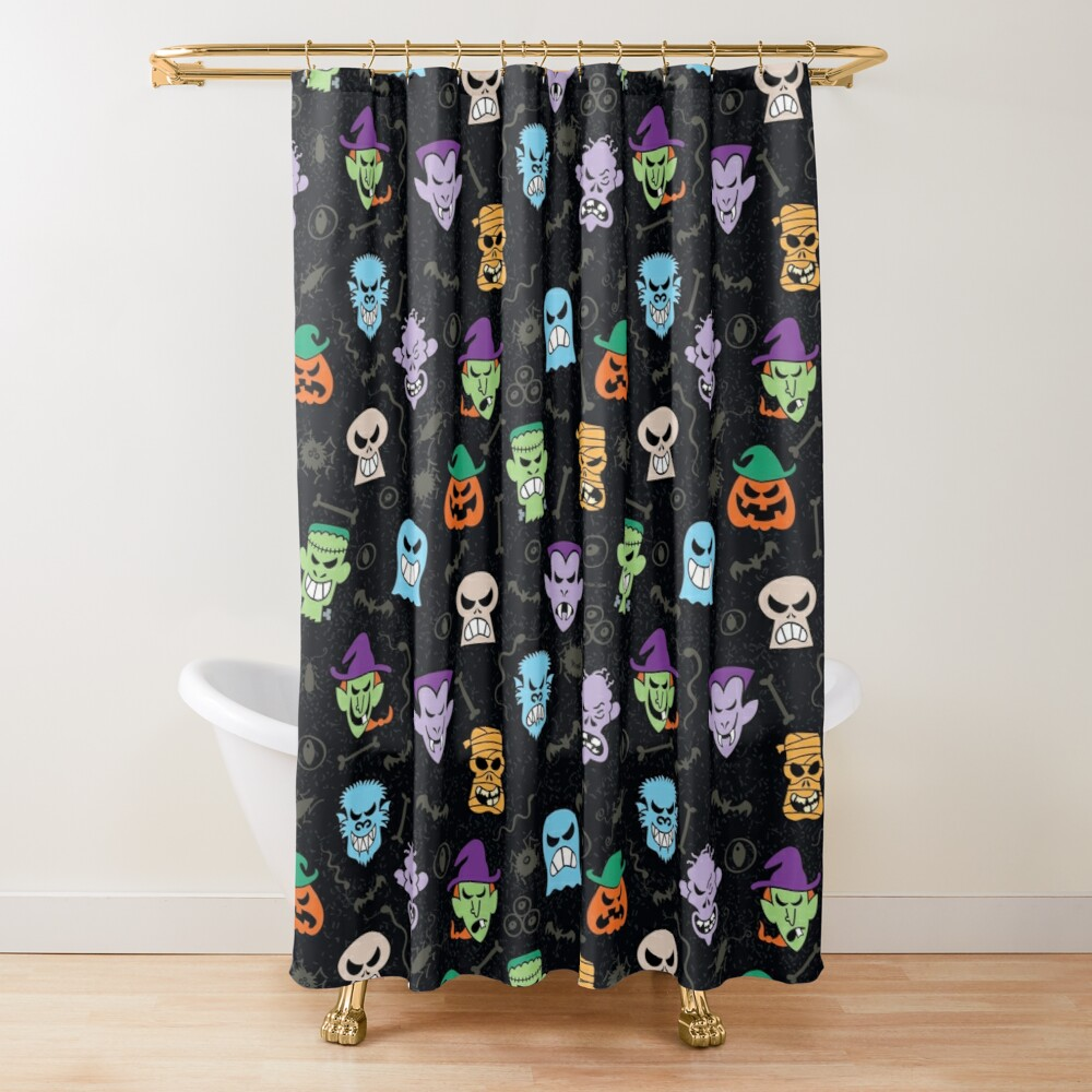 Halloween characters making funny faces in a cool pattern design Shower Curtain