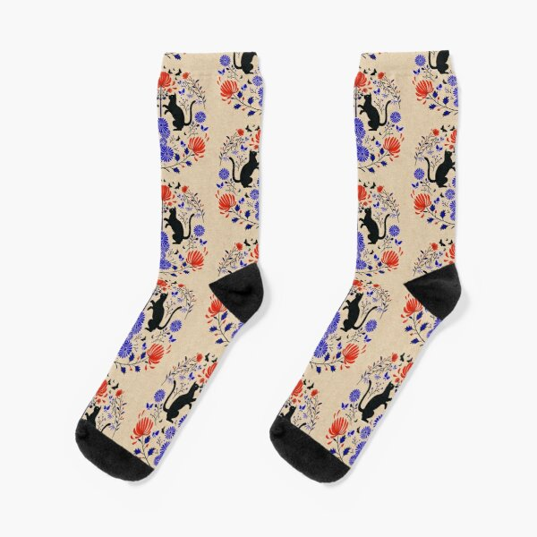 Fireworks flowers and Black cats /red & blue  Socks