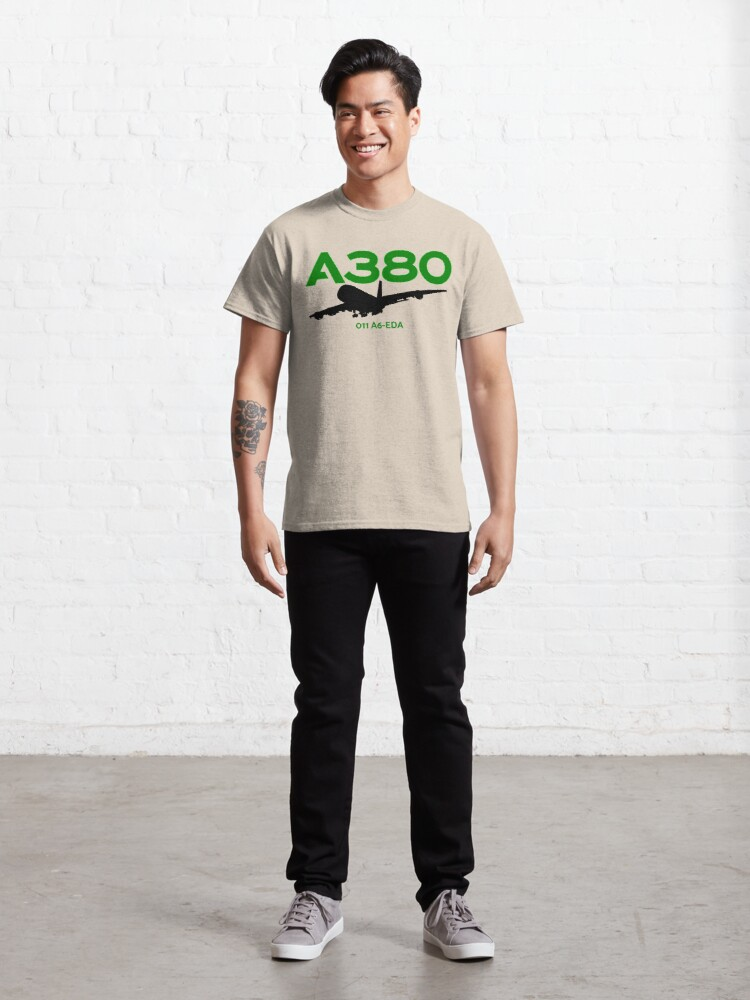 Alternate view of Airbus A380 011 A6-EDA (Black)  Classic T-Shirt