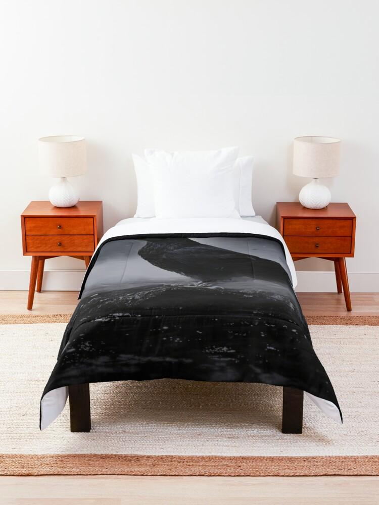 Alternate view of Raven in the fog Comforter