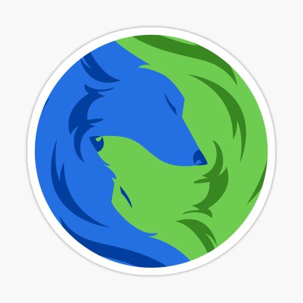 Wolf Love - Blue Green Sticker