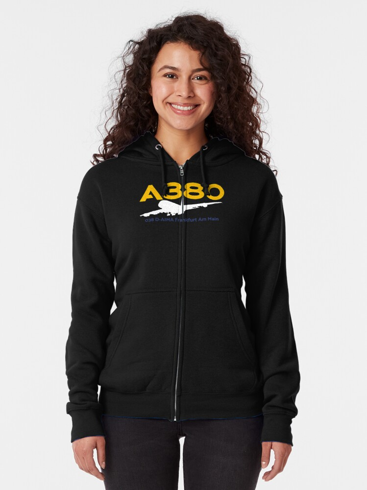 Alternate view of Airbus A380 038 D-AIMA (White)  Zipped Hoodie