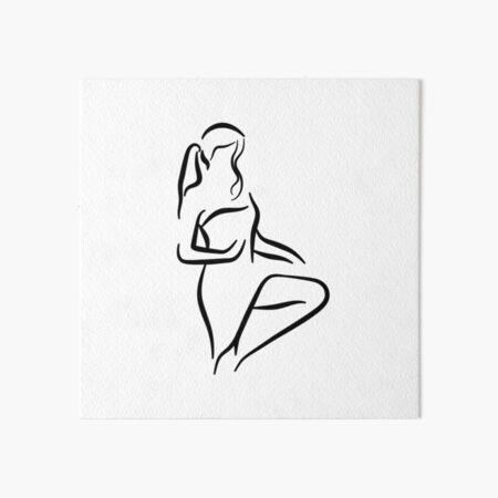 Classy Lady Minimalist Line Drawing Art Board Print