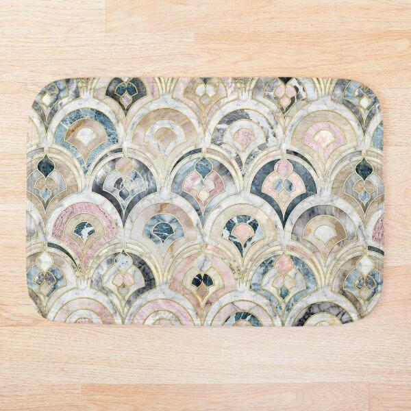 Art Deco Marble Tiles in Soft Pastels Bath Mat
