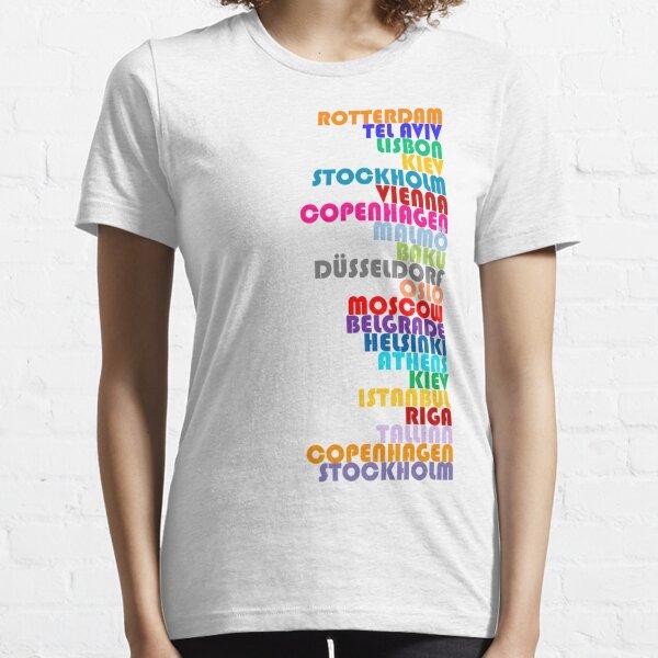 ¡NUEVO! Ciudades anfitrionas de Eurovisión 2020 Camiseta esencial