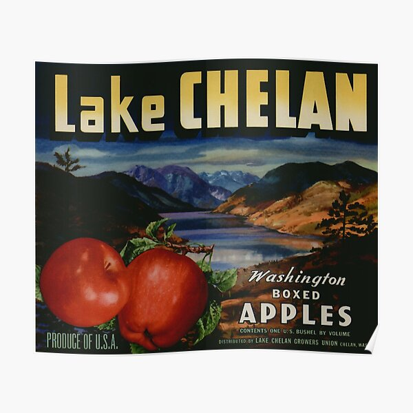 Vintage Food Crate Label Lake Chelan Boxed Washington Apples Fruit Vegetable Produce Art Antique Retro Artwork Old Sign Poster