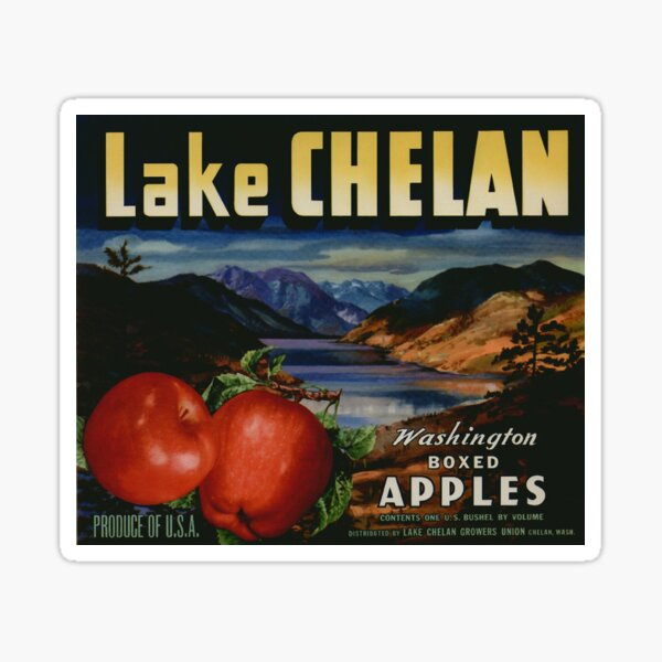 Vintage Food Crate Label Lake Chelan Boxed Washington Apples Fruit Vegetable Produce Art Antique Retro Artwork Old Sign Sticker