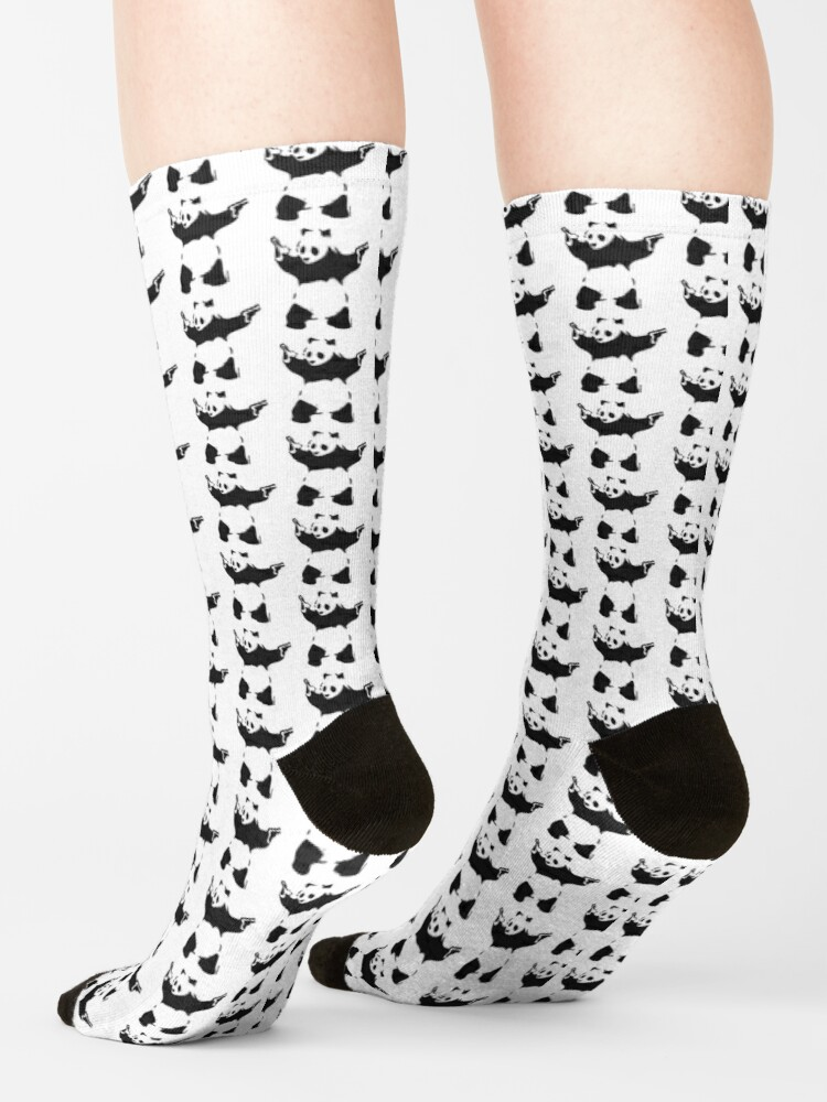 Alternate view of Banksy Panda with guns black and white Graffiti Street art with Banksy signature tag on white background HD HIGH QUALITY ONLINE STORE Socks