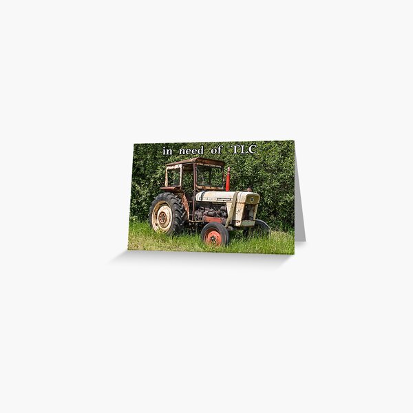 Old tractor with baked bean tin. Greeting Card