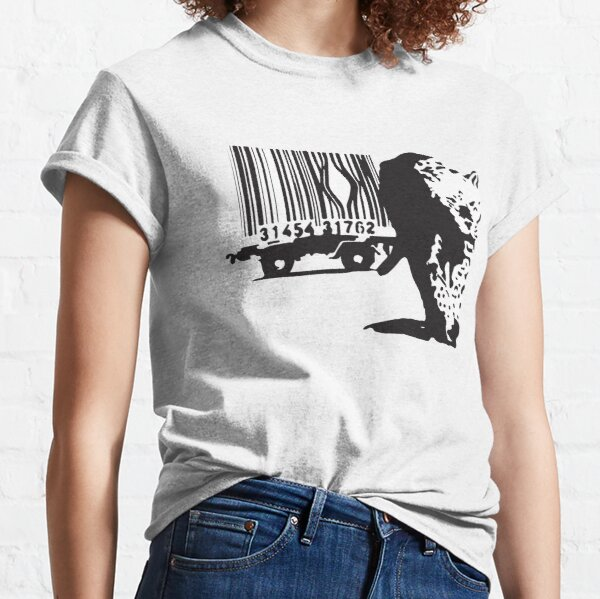 Banksy tiger leopard getting out of a Barcodes cage graffiti black and white Classic T-Shirt