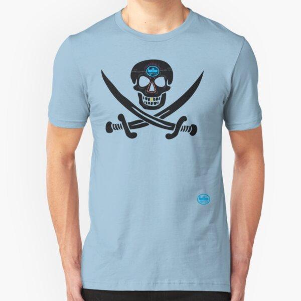 uk pirate sword tshirt by rogers bros Slim Fit T-Shirt