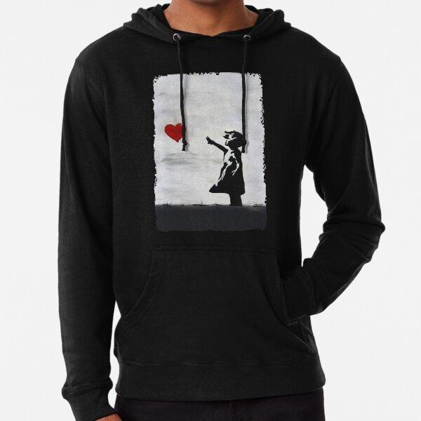 Banksy Girl con corazón globo graffiti WALL ORIGINAL street art HD TIENDA ONLINE DE ALTA CALIDAD Sudadera ligera con capucha