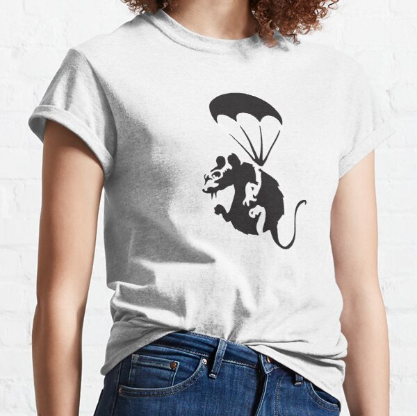 Banksy rat with parachute and nuclear war spy glasses Graffiti Street art with Banksy signature tag HD HIGH QUALITY ONLINE STORE Classic T-Shirt