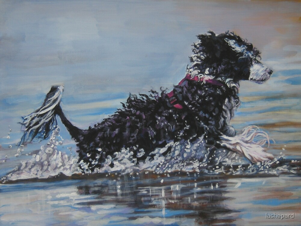 Portuguese Water Dog Fine Art Painting by lashepard