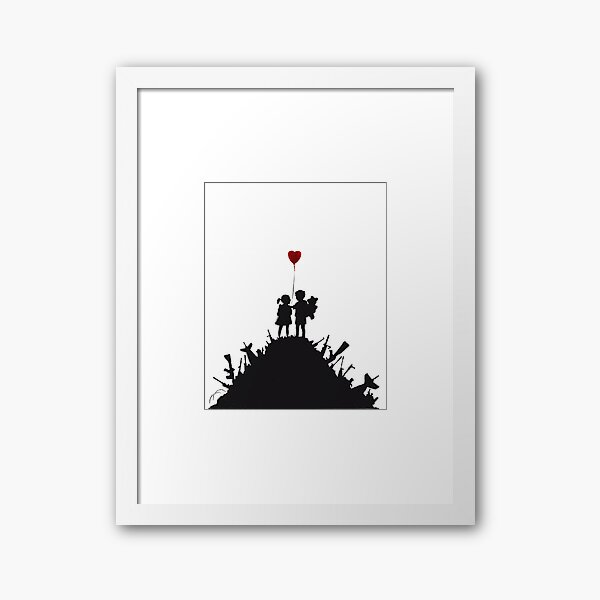 Banksy graffiti children boy and girl with heart balloon on a pile of weapons Art for Kids, just a platform Framed Art Print