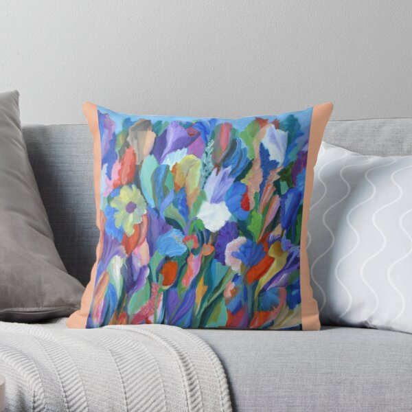Dance of the Flowers. From an original acrylic painting by Pamela Parsons. Throw Pillow