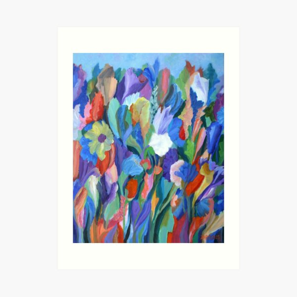 Dance of the Flowers. From an original acrylic painting by Pamela Parsons. Art Print