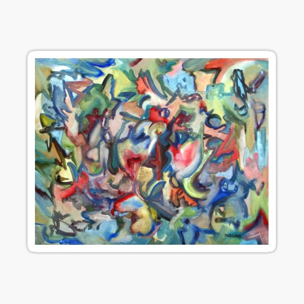 Grow. An abstract expressionist oil painting by Pamela Parsons Sticker