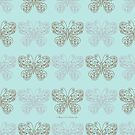 Gilded Butterflies Gold and Silver Pale Green Cyan by Kristin Omdahl