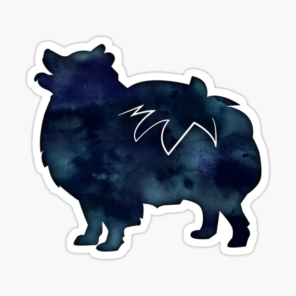 Pomeranian Dog Breed Silhouette Black Indigo Blue Watercolor Sticker