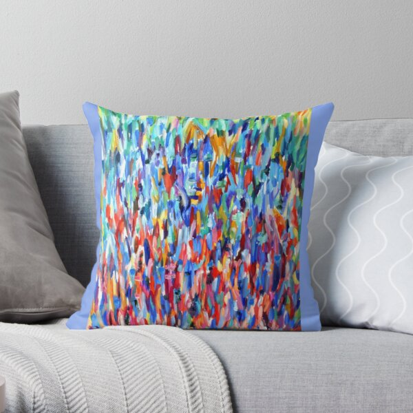 Blue in Bloom. Impressionist organic nature design. From painting by Pamela Parsons Throw Pillow