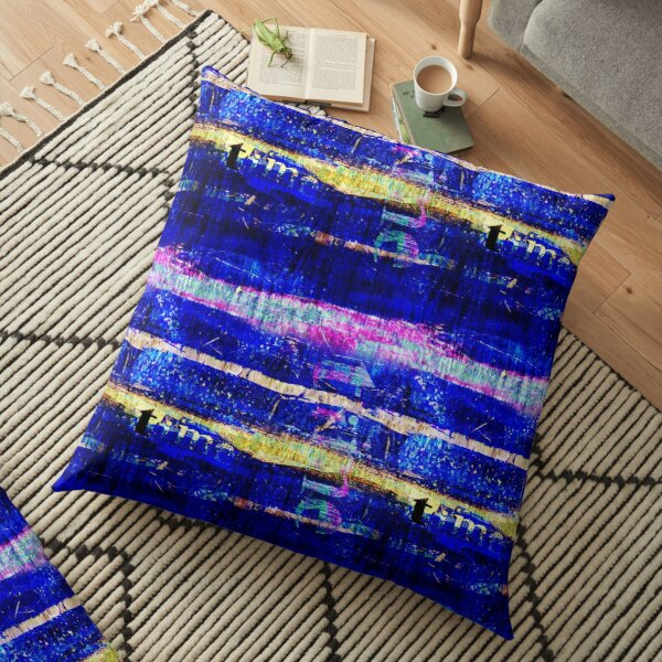 Indigo, pink and gold acrylic style digital painting with grunge typography in striped geometric design Floor Pillow