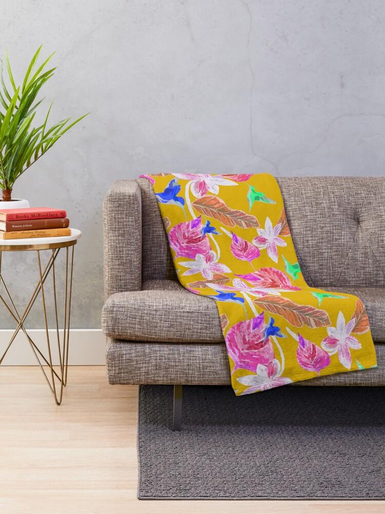 Alternative Ansicht von Kolibri und botanic Fleecedecke