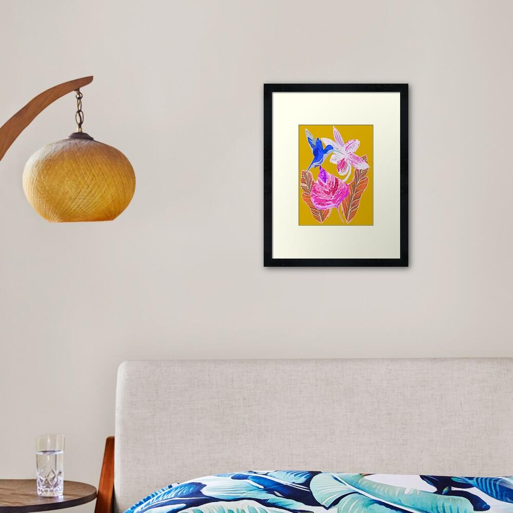 Kolibri und botanic Gerahmter Kunstdruck