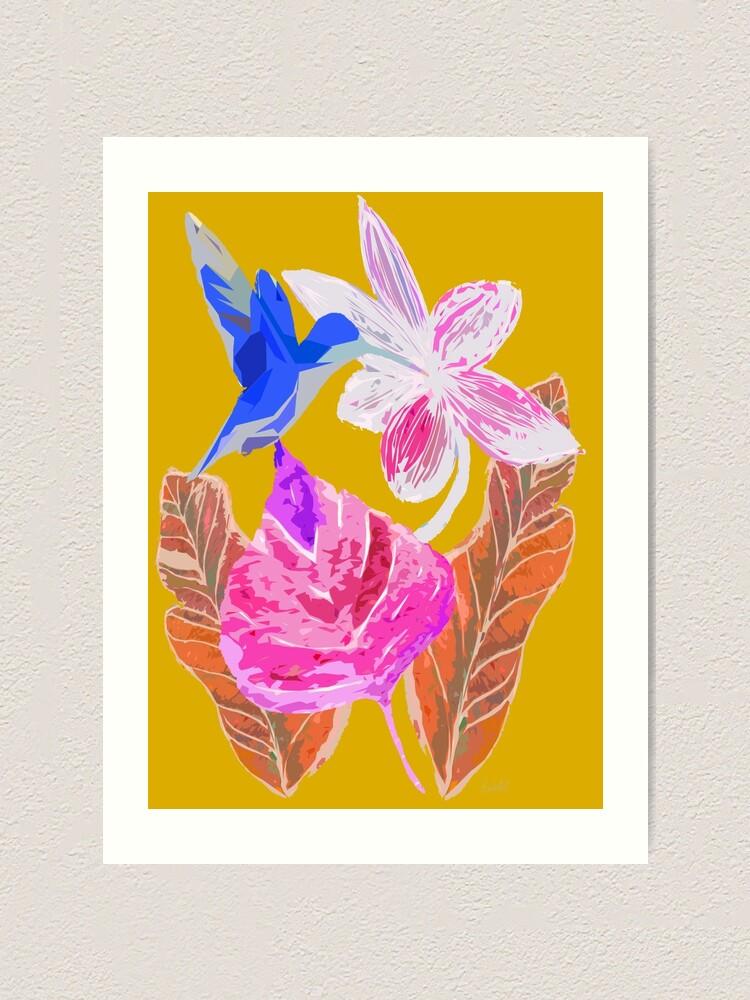 Alternative Ansicht von Kolibri und botanic Kunstdruck