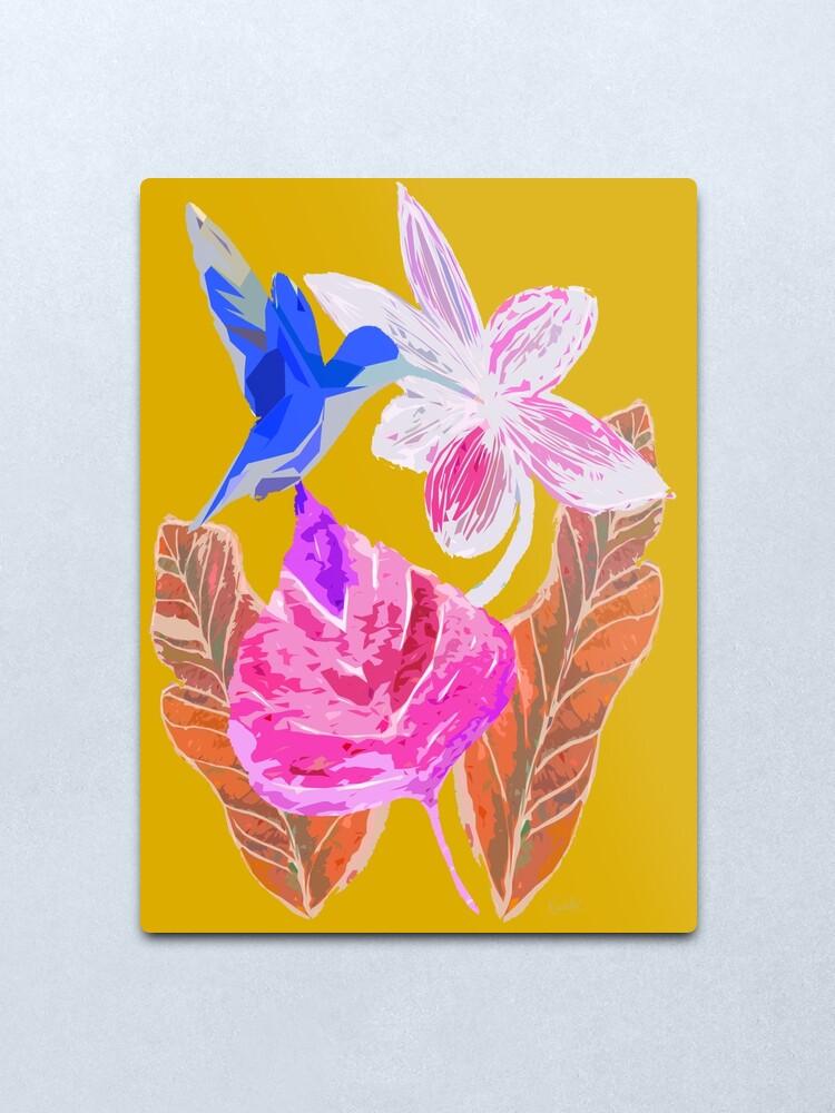 Alternative Ansicht von Kolibri und botanic Metallbild