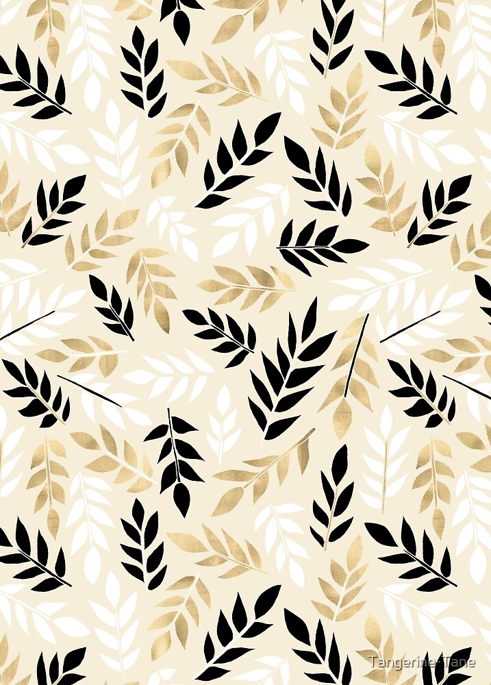 Black, White & Gold Fronds by Tangerine-Tane