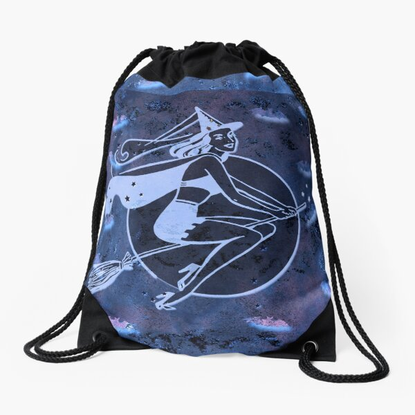 Fun Retro Halloween Witch On Her Broomstick Drawstring Bag