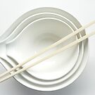 Three White Bowls with Chopsticks by tenzil