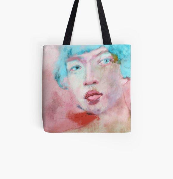 Zeitgenoessische Kunst. Frauen Portrait, asiatisch, mit blauen Haaren. Liebeskummer Allover-Print Tote Bag